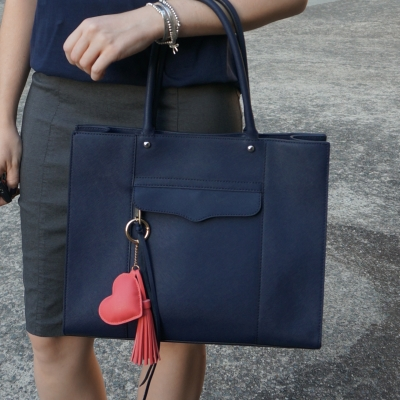 navy tee and Rebecca Minkoff medium MAB tote in moon navy with heart tassel bag charm | awayfromtheblue