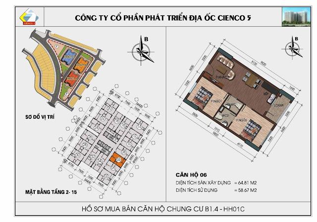 Sơ đồ căn hộ 06 chung cư Thanh Hà Cienco 5 tòa HH01C căn 06