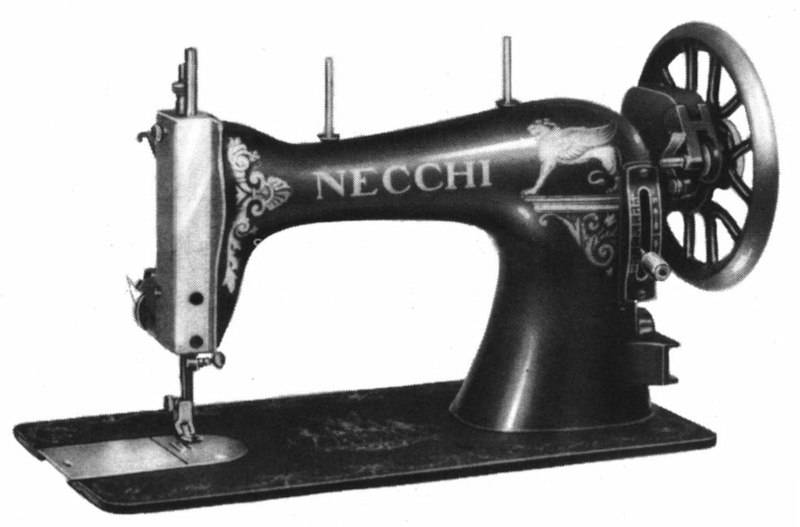 Side view of an early Necchi sewing machine from the 1920s.
