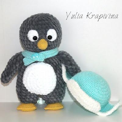 Пингвин амигуруми в шапочке