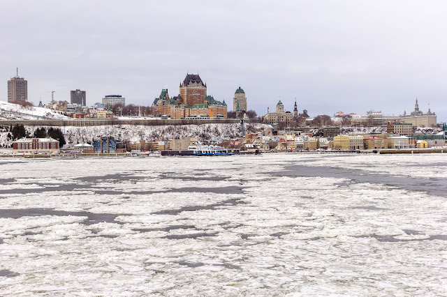 view of Québec City from the Lévis Ferry