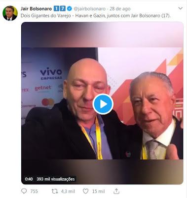 Print do tuíte de Bolsonaro com vídeo de empresários