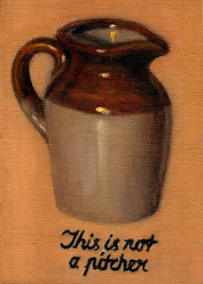 Oil painting of an earthenware pitcher with an inscription below reading: This is not a pitcher.
