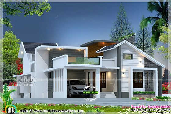 1650 sq-ft 2 BHK modern mixed roof home