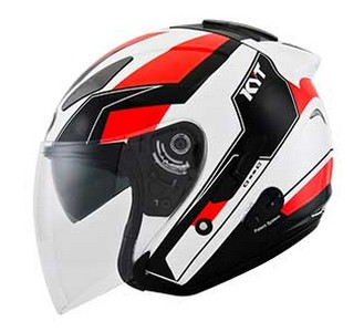 Harga Helm KYT GX-S White/Red Fluo