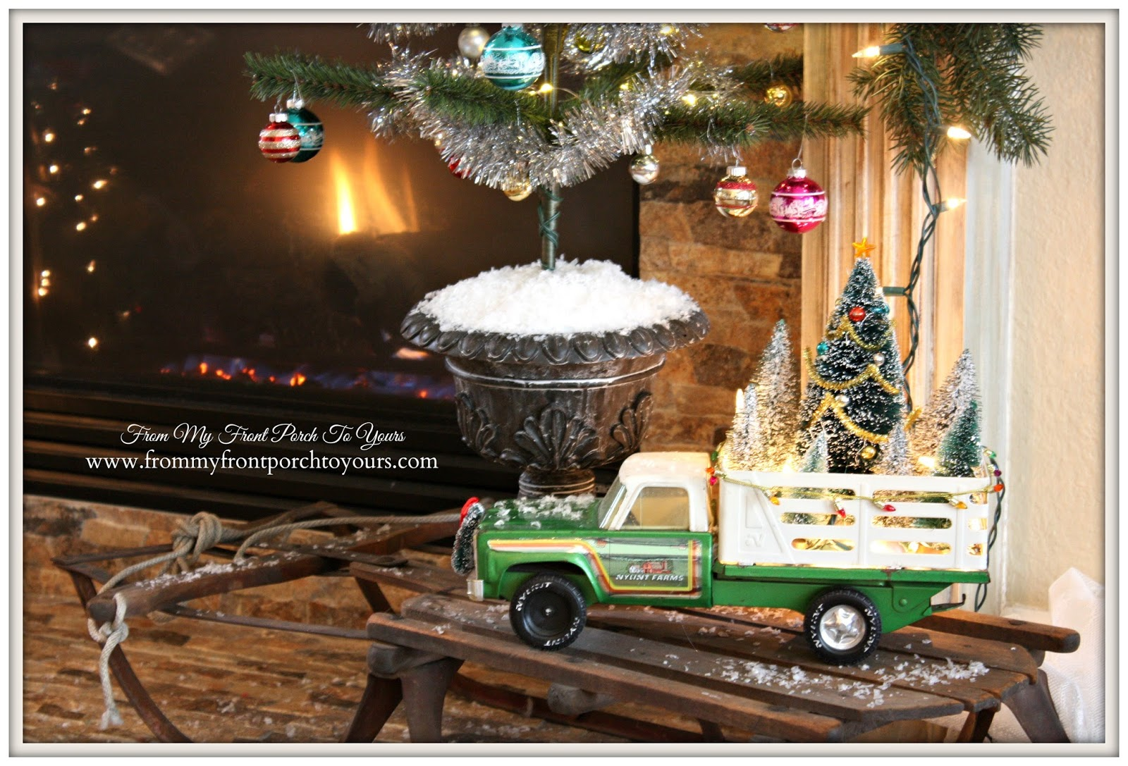 French Farmhouse-Christmas Mantel- Vintage-Toy-Truck-From My Front Porch To Yours