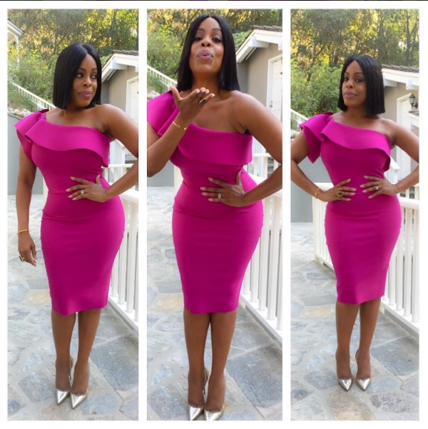 Niecy Nash Killed On The Red Carpet In Pink Ruffle One Shoulder Dress