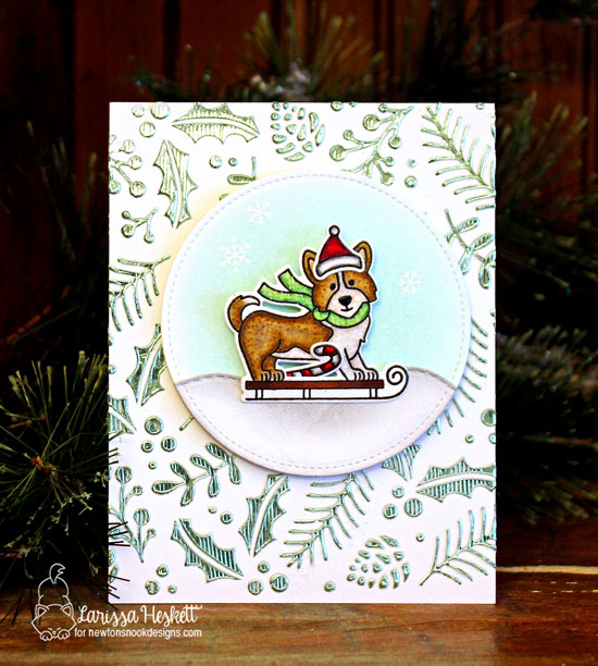 Newton's Nook Designs & Therm O Web Inspiration Week | Cogi Holiday card by Larissa Heskett | Winter Woofs Stamp Set and Holiday Foliage Stencil by Newton's Nook Designs #newtonsnook #thermoweb