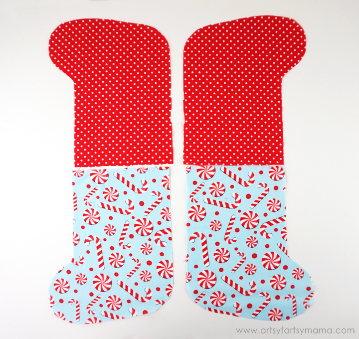 Free Printable Mini Christmas Stocking Pattern at artsyfartsymama.com
