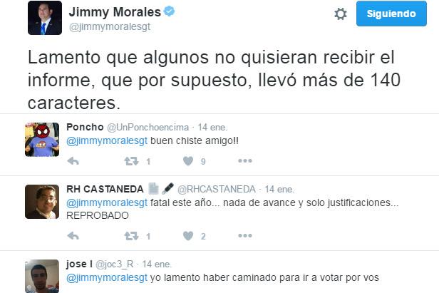 primer informe presidencial Jimmy Morales