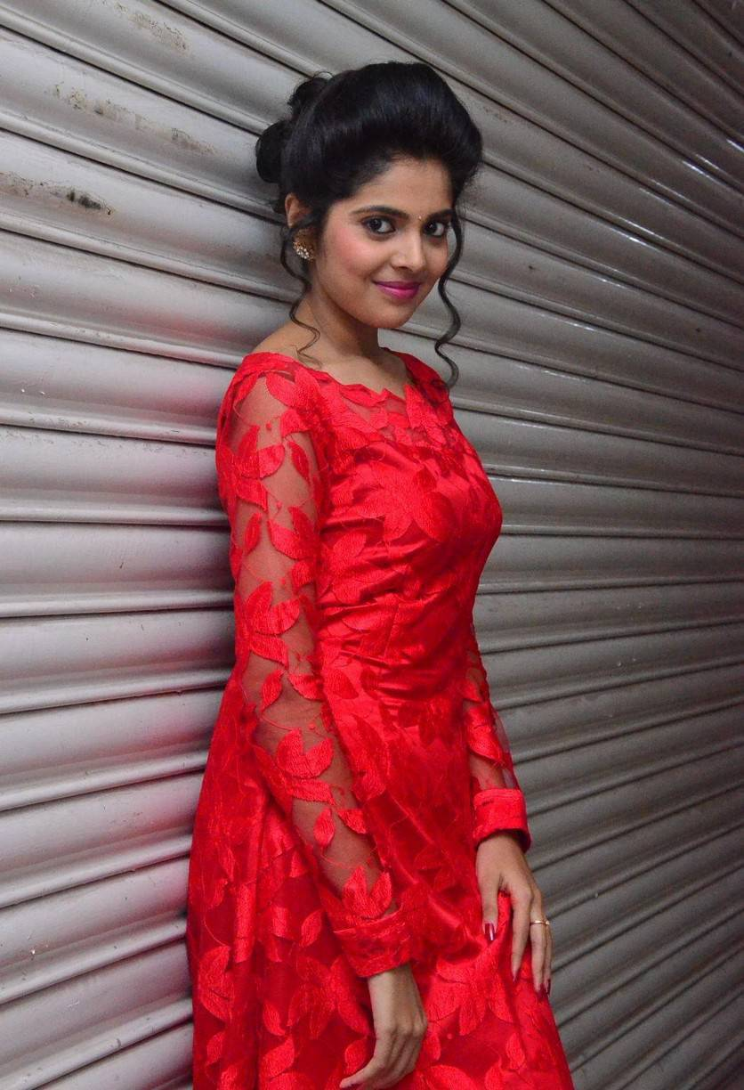Tollywood Actress Shravya Hot Stills In Red Dress