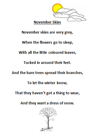 Adventures in Room 111: Spelling Poem #11: November Skies
