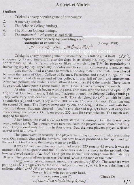 Essay on cricket match for class 7
