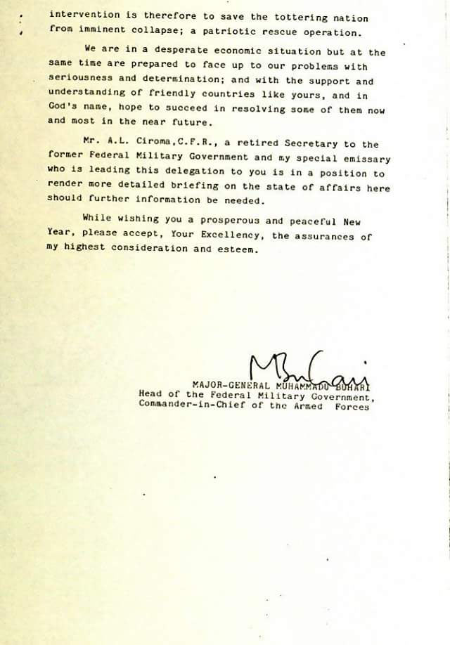 Corruption: See letter Buhari wrote British prime minister in 1984