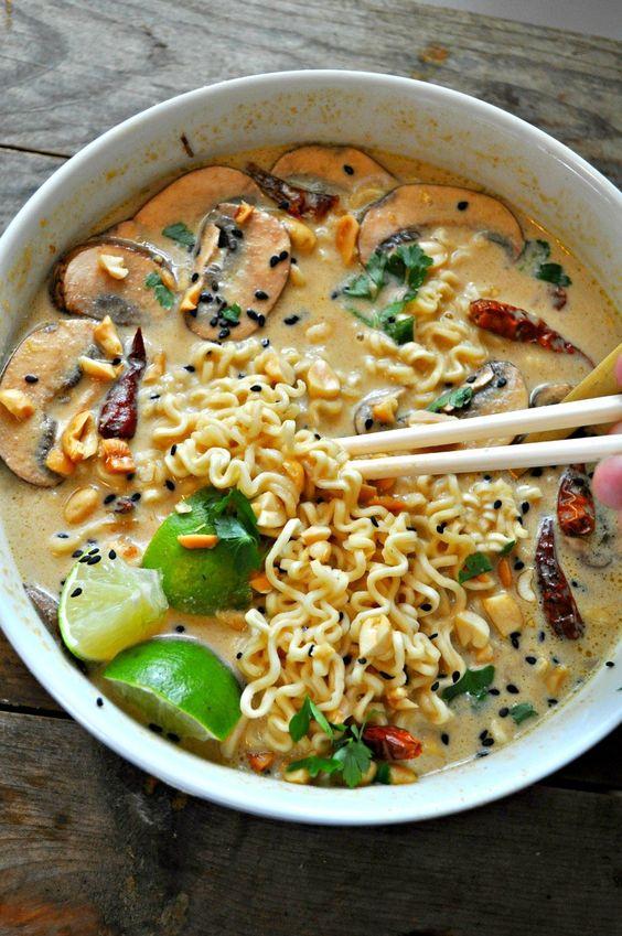 The best vegan ramen soup with a spicy Thai peanut broth.