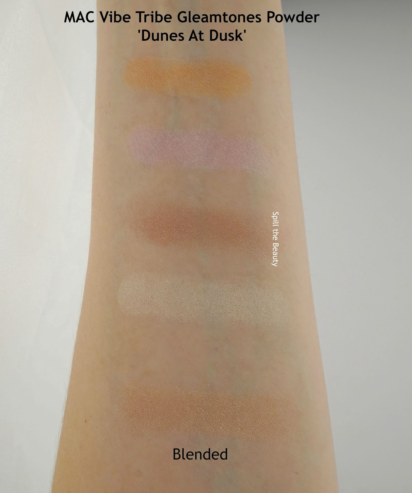 MAC VIbe Tribe Gleamtones Powder Dunes At Dusk Review Swatches arm swatch