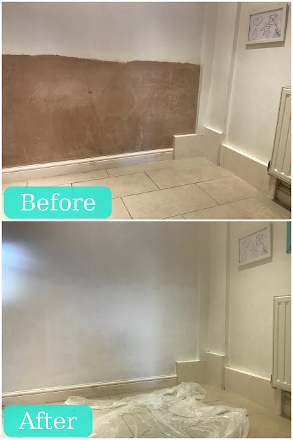 A before and after photograph of a wall with bare plaster at the bottom and all painted white