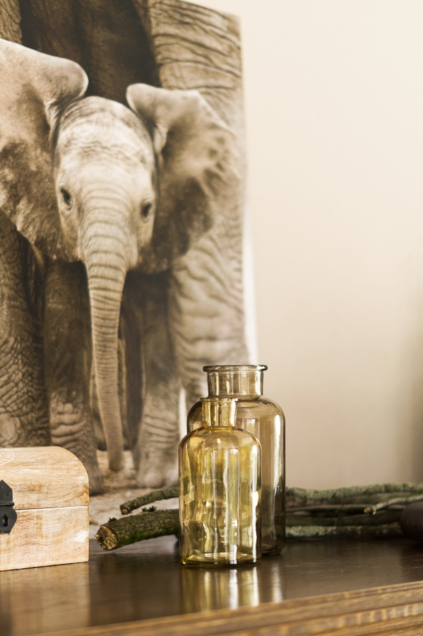 Blog + Fotografie by it's me! ... fim.works - Mein Shelfie im April, Apothekergläser, Elefanten-Bild