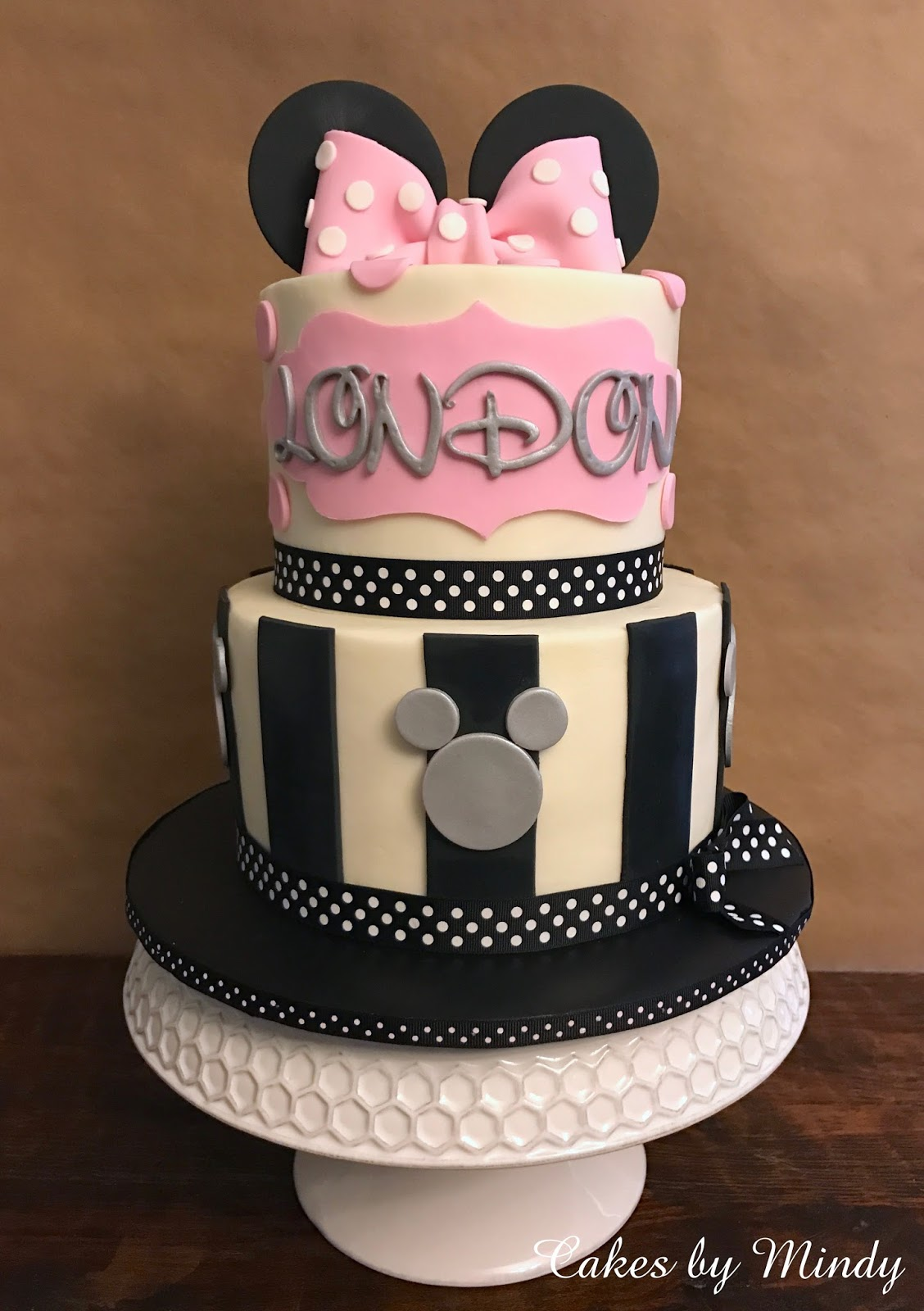 Cakes by Mindy Pink Black and Silver Minnie Mouse Cake