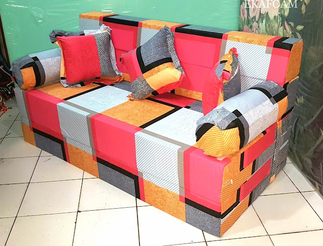 Sofa bed inoac motifminimalis cavali orange