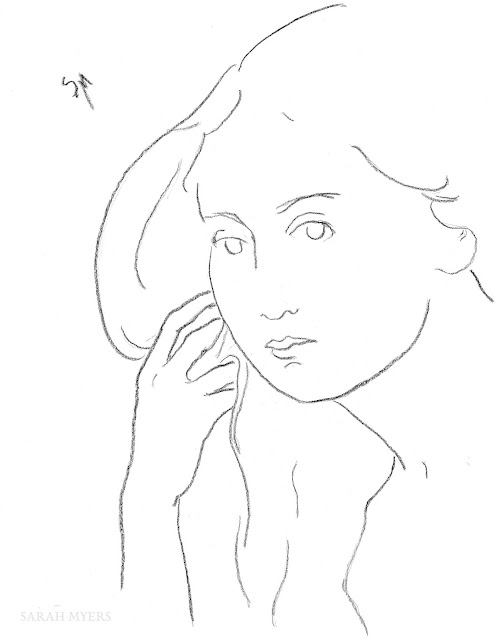 art, arte, sketch, drawing, minimal, Sarah, Myers, charcoal, minimalism, woman, lady, figurative, contemporary, simple, line, line-drawing, portrait, minimalist, dibujo, face, head, fashion, hair, hand, long,