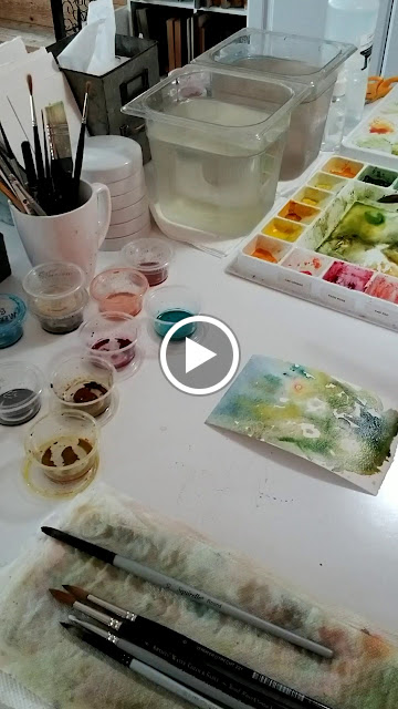Video taken of artist painting hollyhocks by Christy Sheeler