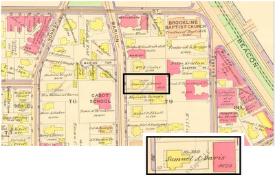 1913 Ward Map showing the property of Samuel A. and Mary E. Davis on Marion Street