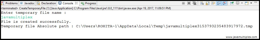 Output of Java program that creates a temporary file in Temp folder.
