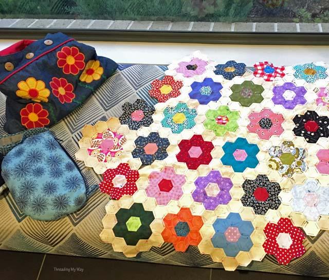 Grandmothers Flower Garden hexagon quilt progress ~ Threading My Way