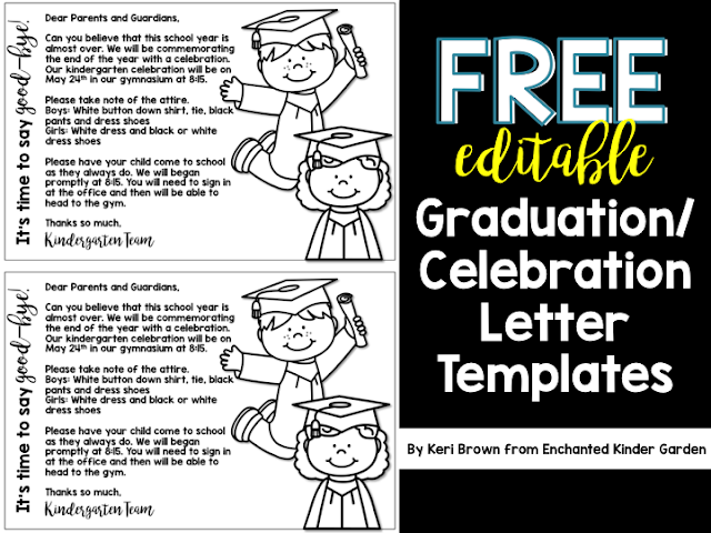 Grab these free editable graduation or celebration letters! You can use these as an announcement or as the invitation. Copy on some bright paper and you're done! Simple to edit text and cute graphics makes for a great end of the year!