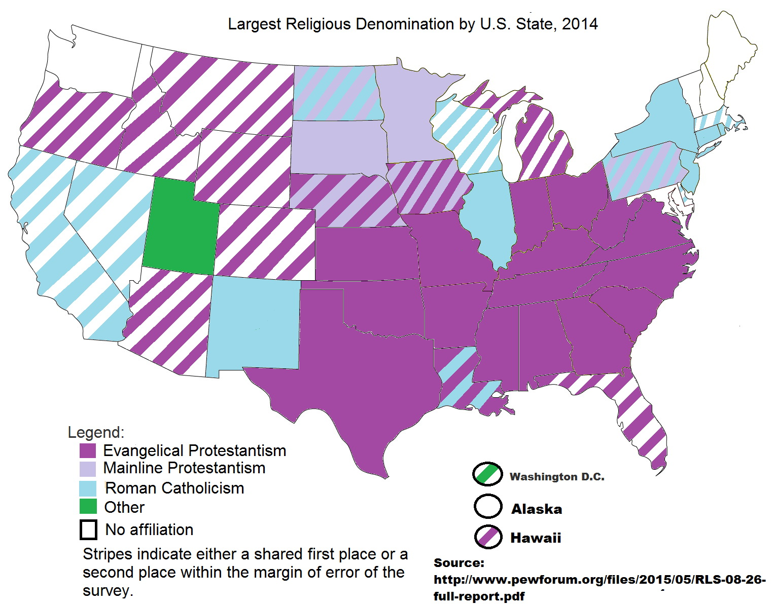 Largest religious denomination by State (2014)