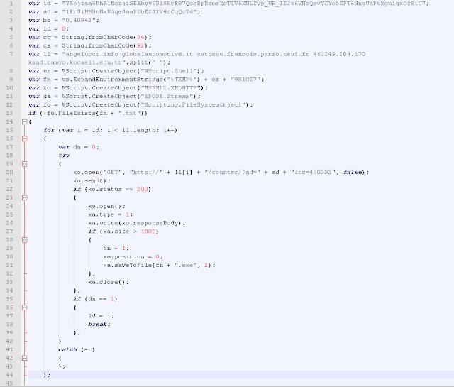 Nemucod Javascript - Download del ransomware
