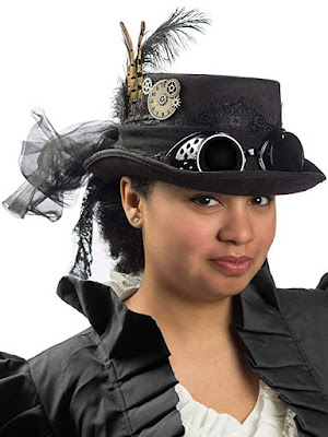 Velvet and lace steampunk top hat with goggles