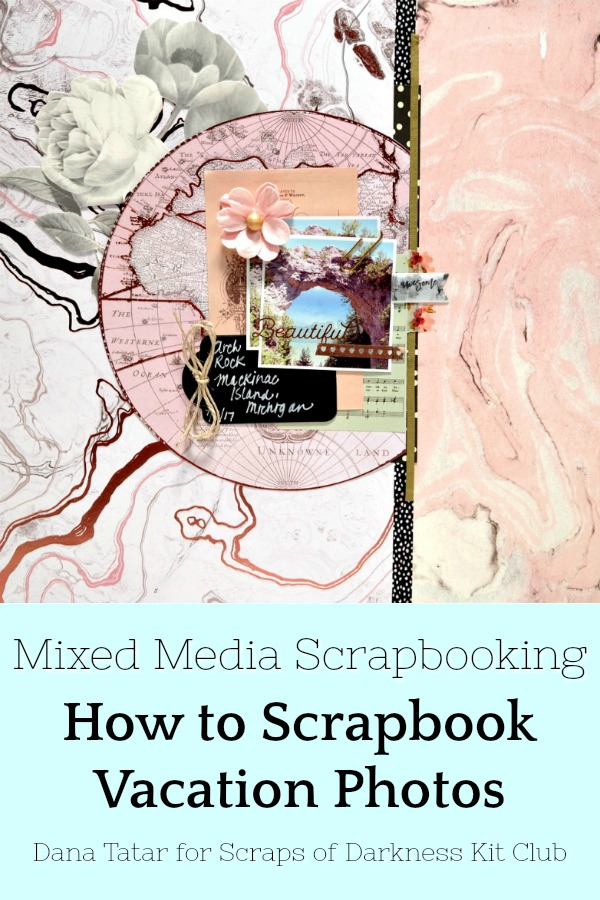 Pink Geode Mackinac Island Arch Rock Vacation Scrapbook Layout