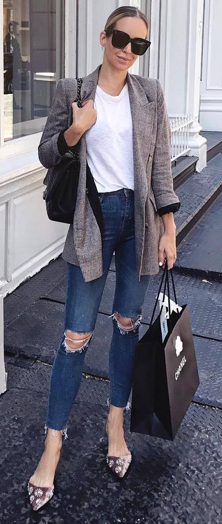 how to style a cardigan : bag + tee + ripped jeans + loafers