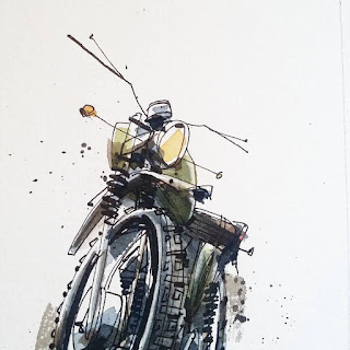 Vintage Enduro Bike Sketch Illustration