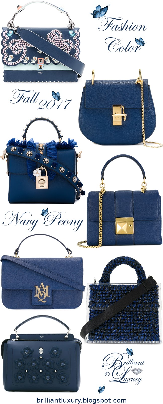 Brilliant Luxury ♦ Fashion Color Fall 2017 ~ navy peony #bags