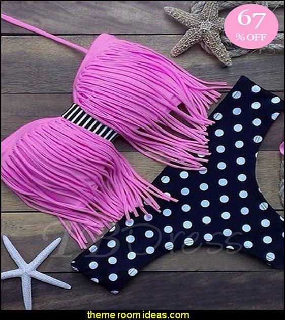 Pink Fringed Top Polka Dots Bikini Bottom Bikini Swimwear