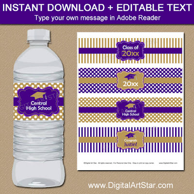 graduation water bottle labels in purple and gold for high school graduation party or college graduation party