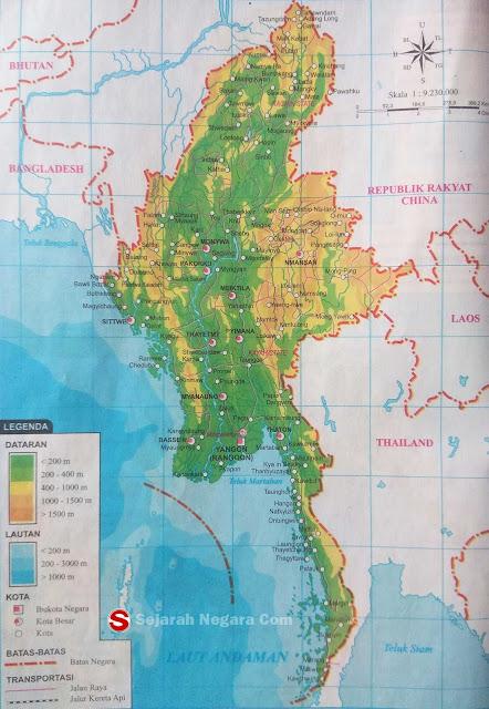 Peta dataran dan perairan sanggup anda lihat pada kotak LEGENDA berupa angka yang tertera Peta Negara Myanmar 2019