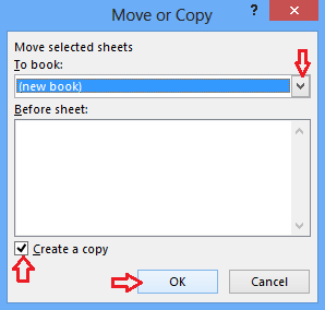 Select new book and check the create a copy option in the move or copy dialogue box