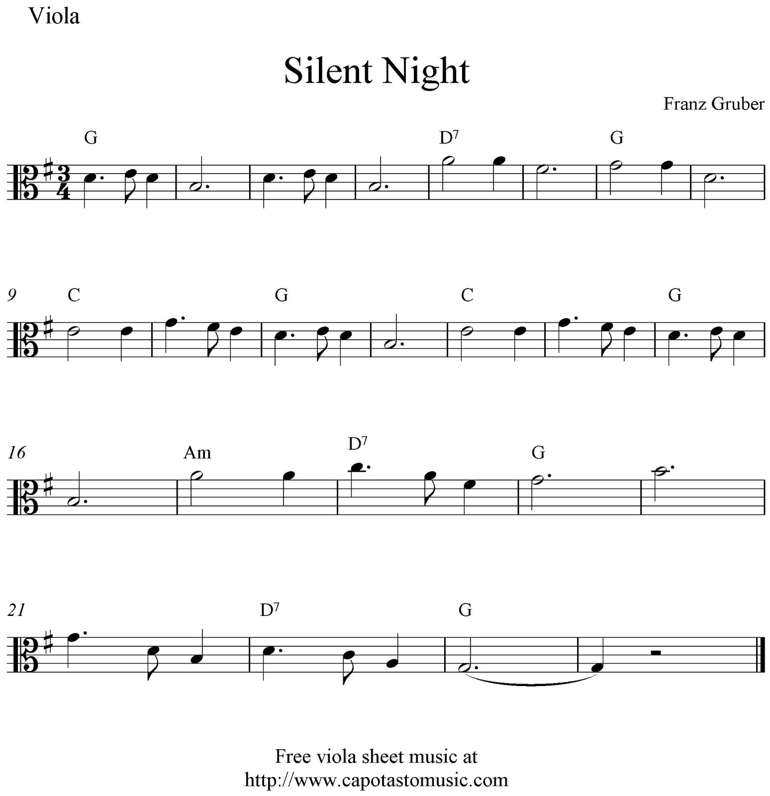 Free Christmas Violin Sheet Music O: Free Viola Sheet Music, Silent Night