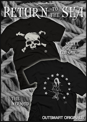 "Jon Paul Kaiser  x outsmART originals Return to the Sea T-Shirt Collection - ""The Skull of the Corsair"" & ""The Mermaid"" T-Shirts"