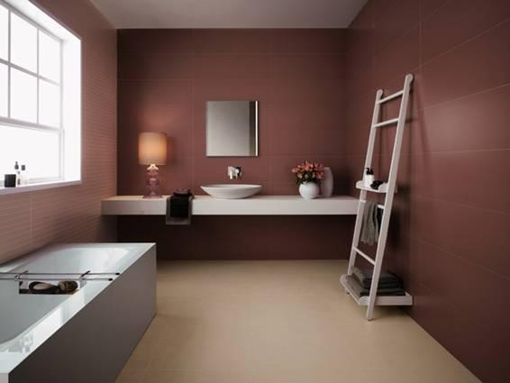 Baño moderno con paredes chocolate El color se libera de cualquier