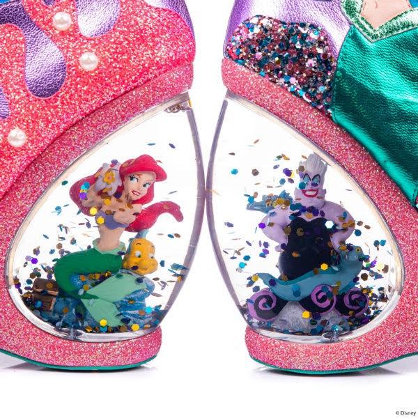 glitter globe heels with disney the little mermaid characters inside