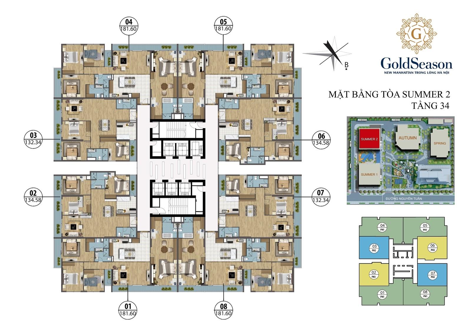 Mặt bằng điển hình căn hộ PenHouse tòa Summer 2 - GoldSeason