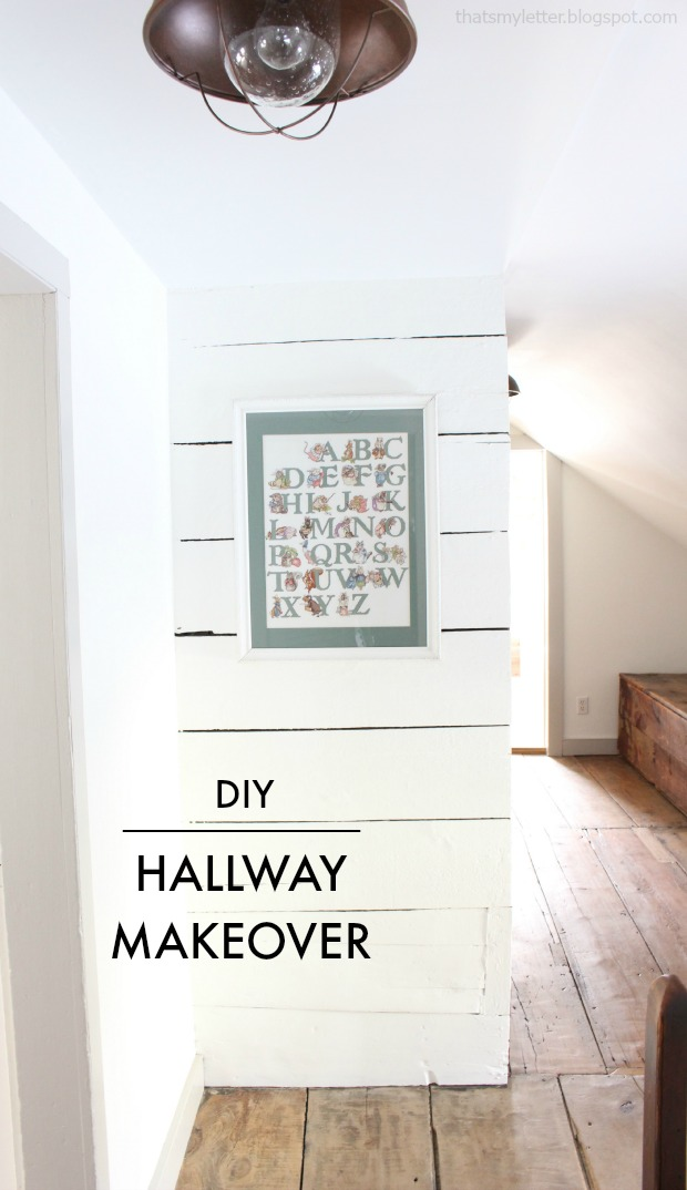 diy hallway makeover planked walls