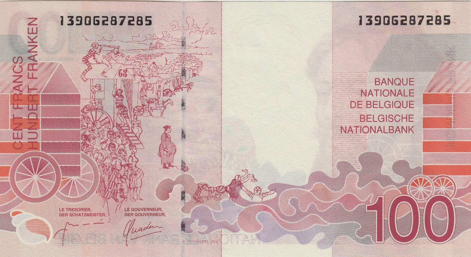 "Belgium Money Currency 100 Belgian Francs banknote 1995 ""The Baths of Ostend"" by James Ensor"