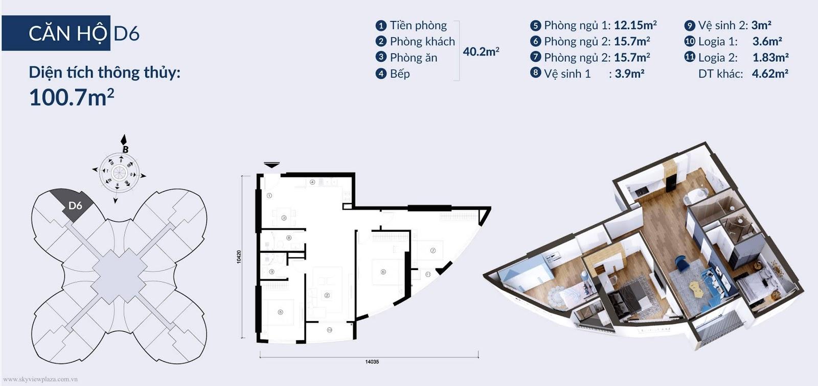 Chi tiết căn hộ D6 dự án Sky View Plaza Giải Phóng