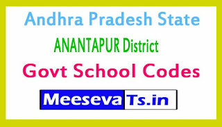 ANANTAPUR District Govt School Codes in Andhra Pradesh State
